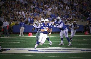 With the Super Bowl on the line, Peyton Manning uses his feet to lift the Colts to victory.