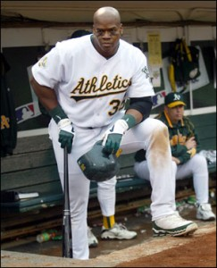 Thomas finished his career with the Oakland A's.