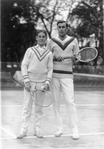 Bill Tilden on court with Sandy Wiener in 1923.