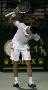 Djokovic reacts to a point he lost during his semifinal match with Baghdatis.