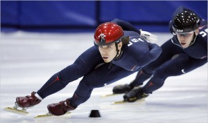 Ohno demonstrates that short-track quickness, speed and power.