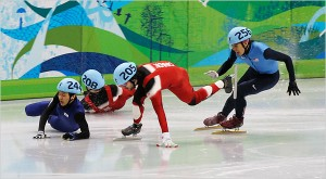 Ohno stays upright during the 2010 Olympics 500-meter short-track finals.