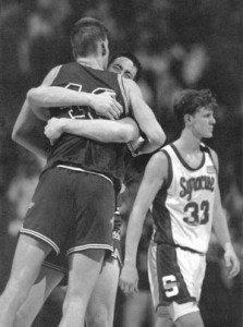 The 1991 Richmond Spiders became the first number 15 seed to win a game in the NCAA Tournament when they shocked number two Syracuse.
