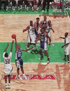 A three-point basket by Scotty Thurman in the final minute lifted Arkansas past Duke for the 1994 NCAA title.