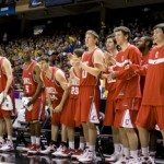 Cornell's reserve players celebrate from the bench as the Big Red defeat Wisconsin 87-69