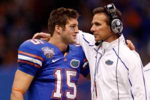 Meyer has a very close relationship with his quarterback Tim Tebow and is still protective of the all-time college great.