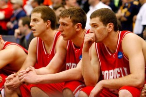 Seated from left to right are Cornell's Ryan Wittman, Jeff Foote, and Jon Jaques, all seniors.