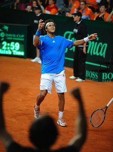 Jo-Wilfried Tsonga during Davis Cup play.