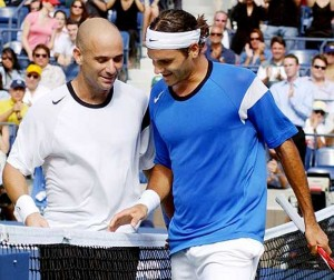Andre Agassi and Roger Federer met on the court several times as Federer rose to the top and Agassi headed toward retirement.