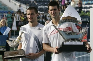 Youzhny and Djokovic during trophy ceremony in Dubai,