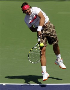 Rafael Nadal loses to Ivan Ljubicic during semifinal contest at Indian Wells.