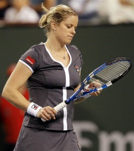 Kim Clijsters loses to Alisa Kleybanova of Russia at BNP Paribas Open at Indian Wells.