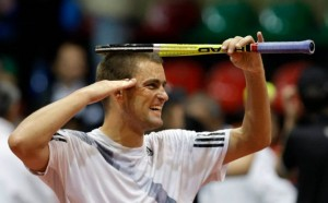 Youzhny's Special Salute after winning a match.