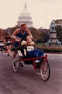 "Team Hoyt running Marine Corp Marathon in 1987 with their ""old friend""."