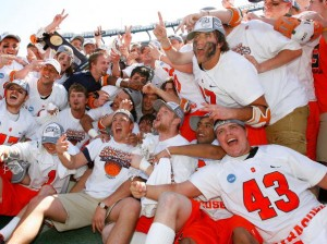 Syracuse players gather together in celebration of their win over Cornell in the 2009 National Championship game.