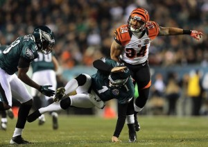 Philadelphia couldn't get out of its own way Thursday night as punter Mat McBriar (1) kicked the ball into the back of his own teammate.