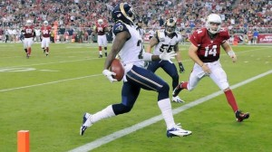 Ryan Lindley watches as Janoris Jenkins (left) scoots into the endzone, returning another Arizona pass for a touchdown.