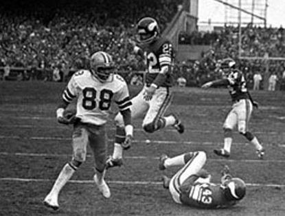 "Drew Pearson was on the receiving end of the ""Hail Mary"" from Roger Staubach in the 1975 NFC Playoffs."