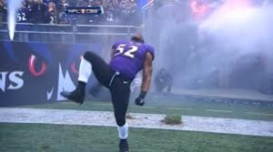 Ray Lewis performs his patented pre-game dance for the final time in his NFL career.