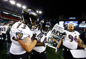 Marshal Yanda and Vonta Leach celebrate at Gillette Stadium after upsetting the Patriots in the AFC Title game.