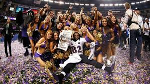 Ravens receiver Torrey Smith celebrates on the field of the Superdome following Super Bowl XLVII. 