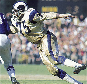 Deacon Jones was twice the NFL Defensive Player of the Year and recorded 20 or more sacks in four seasons.