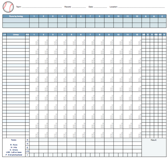 printable baseball score sheet 12 players