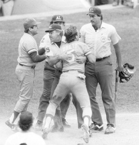 After having his home run reversed, George Brett had to be physically restrained from umpire Tim McClelland.