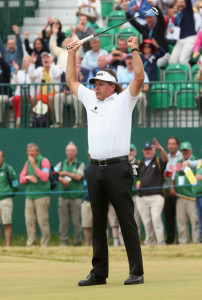Phil Mickelson celebrates his come-from-behind victory at the 2013 British Open.