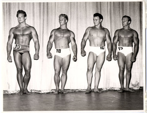 Steve Reeves (far left) helped elevate interest in bodybuilding.