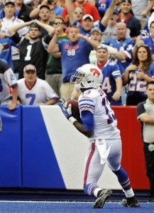 The Buffalo crowd reacts to the last-second win as Steve Johnson hauls in the pass.