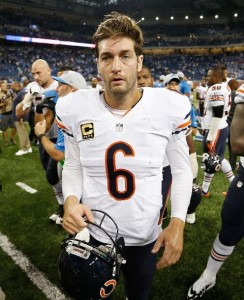 Jay Cutler heads off the field following a four-turnover performance in Sunday's loss to the Lions.