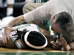 After colliding with Gilbert Arenas, Marquis Daniels was motionless on the court for several minutes.