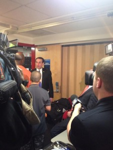 Coach K congratulated the Mercer players and coaches on their well deserved victory.