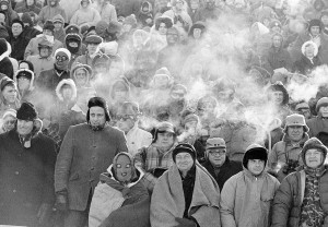 "The bitter cold is shown hear from the fans' breath during ""The Ice Bowl"""