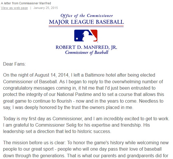 On his first day as commissioner, Rob Manfred sent a letter to baseball fans outlining his immediate areas of focus.