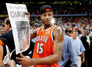 Carmelo Anthony lead Syracuse to the school's first ever NCAA Championship in 2003 as a freshman and then declared for the NBA Draft soon after.