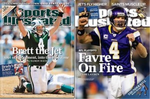 Did Favre look more out of place in a Jets uniform or with the Vikings?