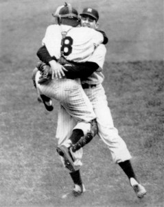 Berra celebrates with Don Larsen after the only perfect game in World Series history.