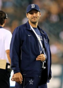 Tony Romo has been relegated to the sidelines with his arm in a sling since suffering a borken left clavicle on Sept. 20 in Philadelphia.