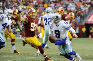 Tony Romo has always felt the pressure and been on the run against Washington.