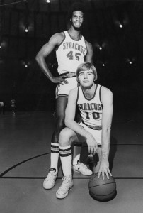 Rudy Hackett (standing) and Jim Lee (kneeling) lead Syracuse to its' first Final Four in 1975.