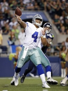 Rookie quarterback Dak Prescott threw five touchdowns in preseason play.