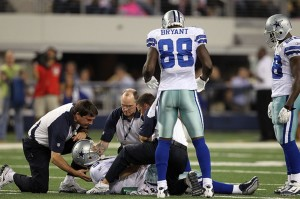 Romo goes down during a game in 2010 against the New York Giants with what was the first break of his left collarbone.