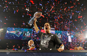 Tom Brady joins Charles Haley as the only players in NFL history to win five Super Bowls.