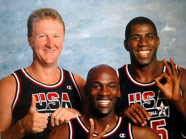 Larry Bird, Michael Jordan and Magic Johnson were teammates during the 1992 Dream Team, but have been competitors for most of their careers.