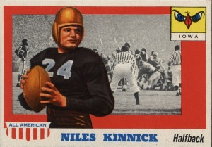 Nile Kinnick was included in the 1955 Topps All-American football card set.