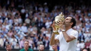 A month shy of his 36th birthday, Roger Federer has claimed his eighth Wimbledon singles title.
