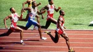 Ben Johnson won the 100 meters at the 1988 Olympics, but his win was overturned due to a failed drug test.