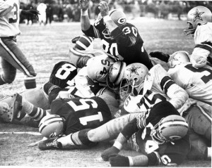 Kramer's goal line block in the Ice Bowl helped guarantee the third straight NFL Championship for the Packers.